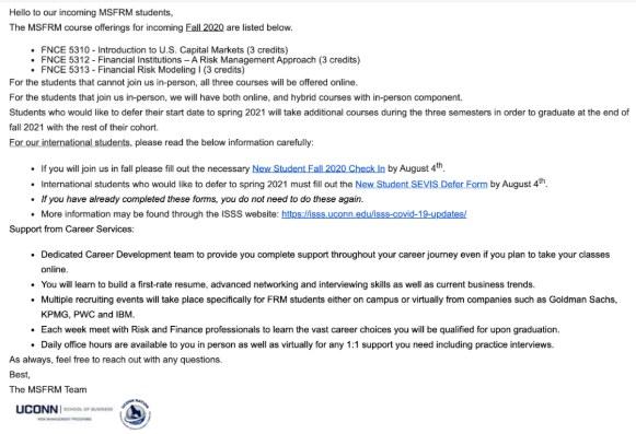 康涅狄格大学发送的邮件